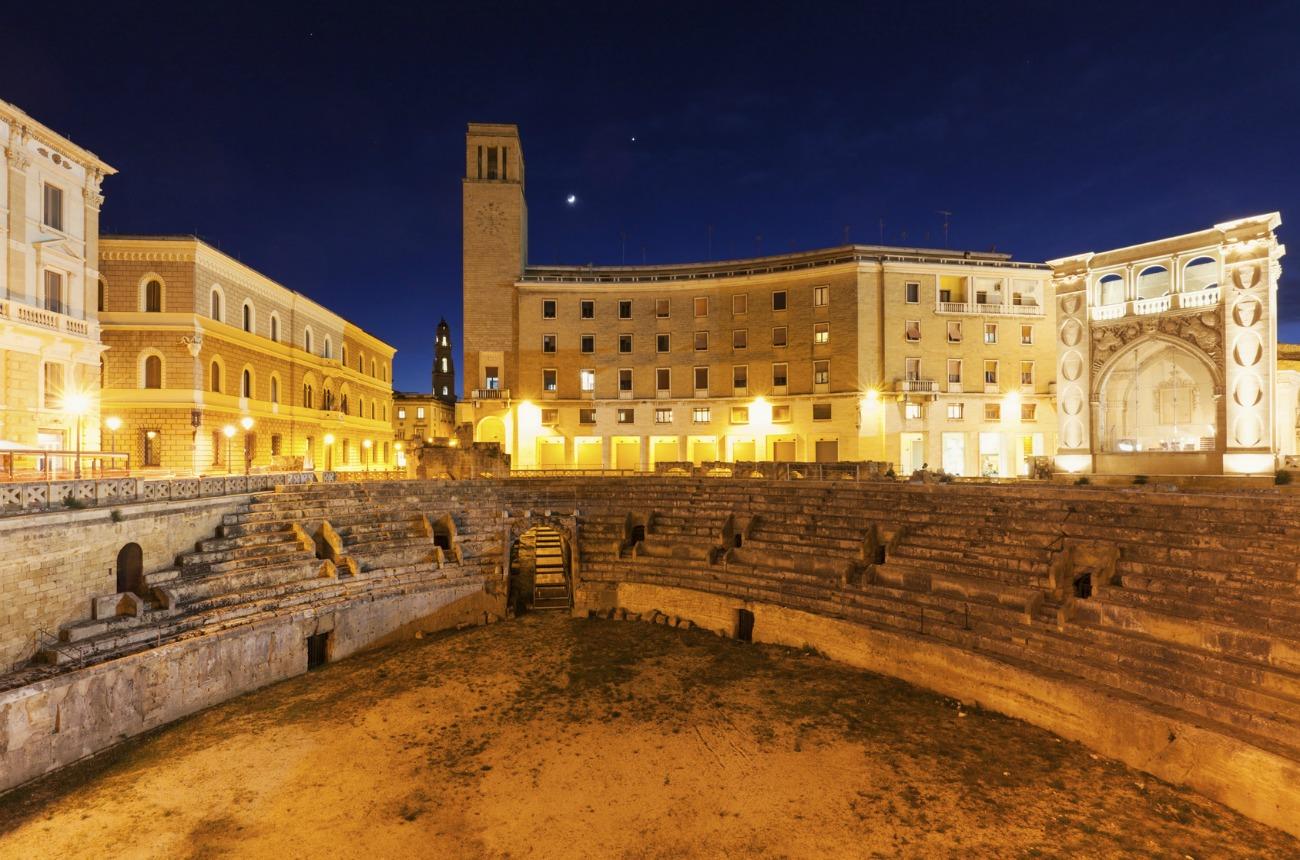 Piazza Santo Oronzo and Roman Amphitheatre in Lecce. Lecce, Apulia, Italy